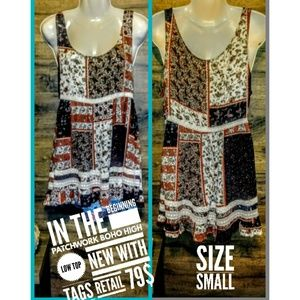 In The Beginning Top Size S Boho Patchwork Nwt